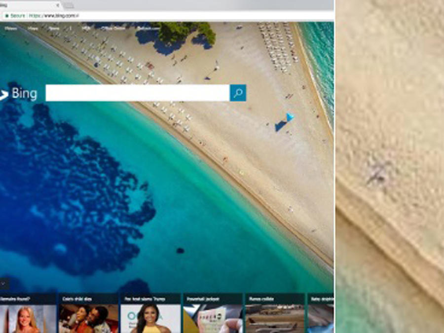 Página de inicio de Bing con un pene