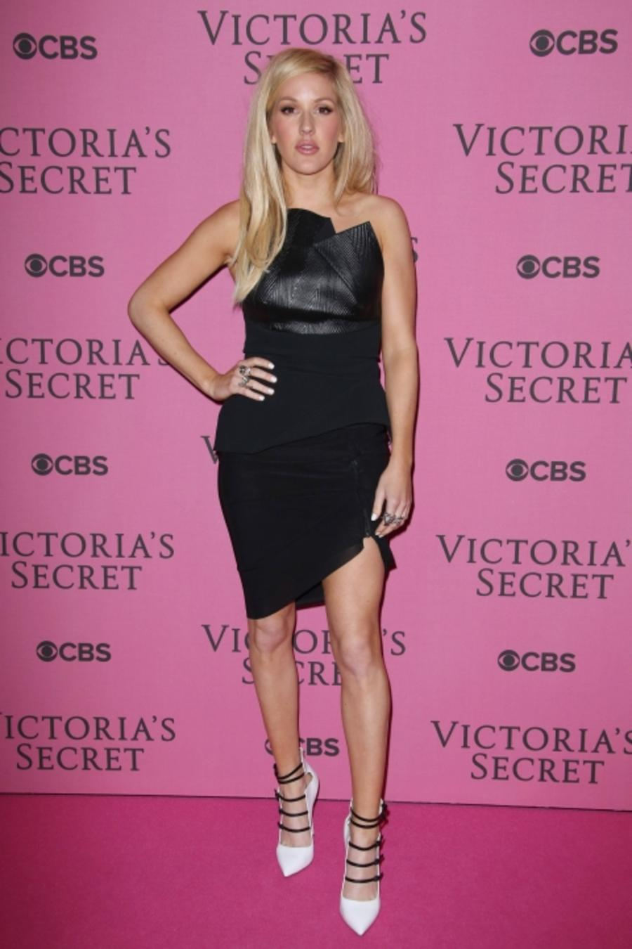 Ellie Goulding Wears A Black LBD To The Victoria's Secret Fashion Show In London, 2014