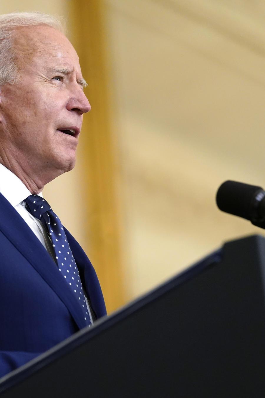 En presidente, Joe Biden, habla en la Casa Blanca.
