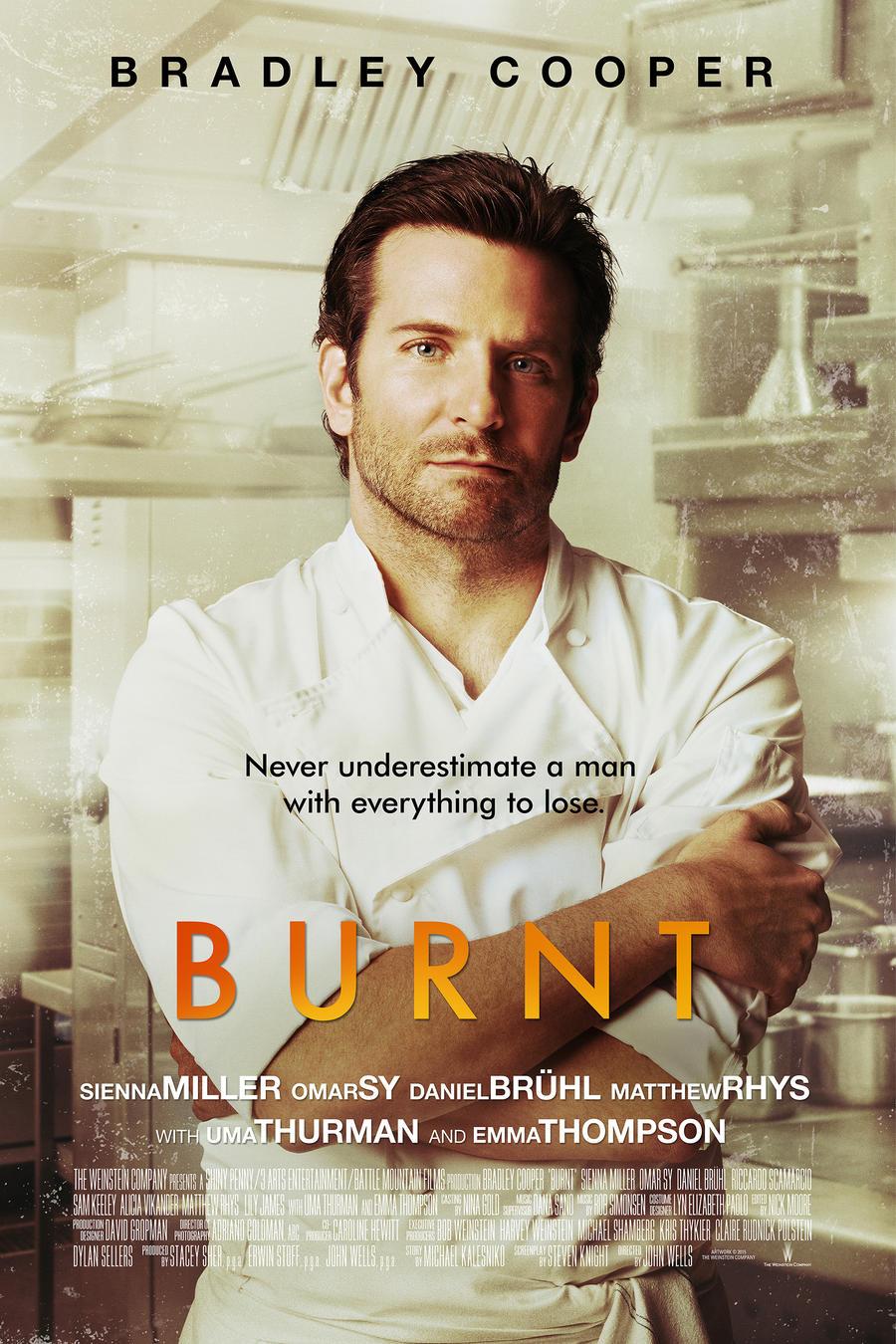 """Póster de la película """"Burnt""""."""