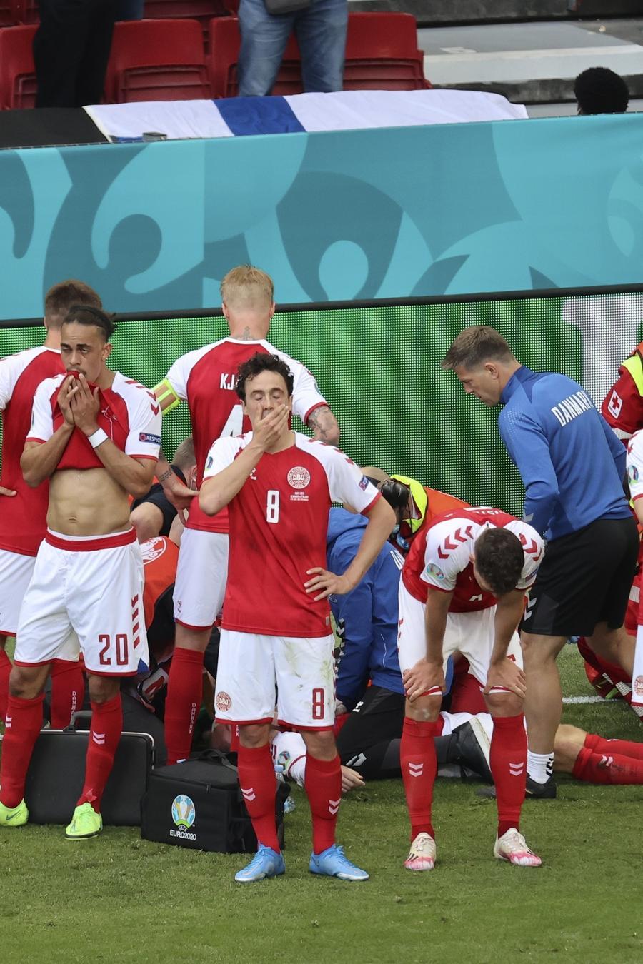 Los jugadores de Dinamarca en la Eurocopa 2020.
