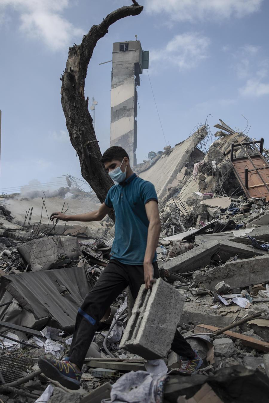 Edificio derribado en Gaza