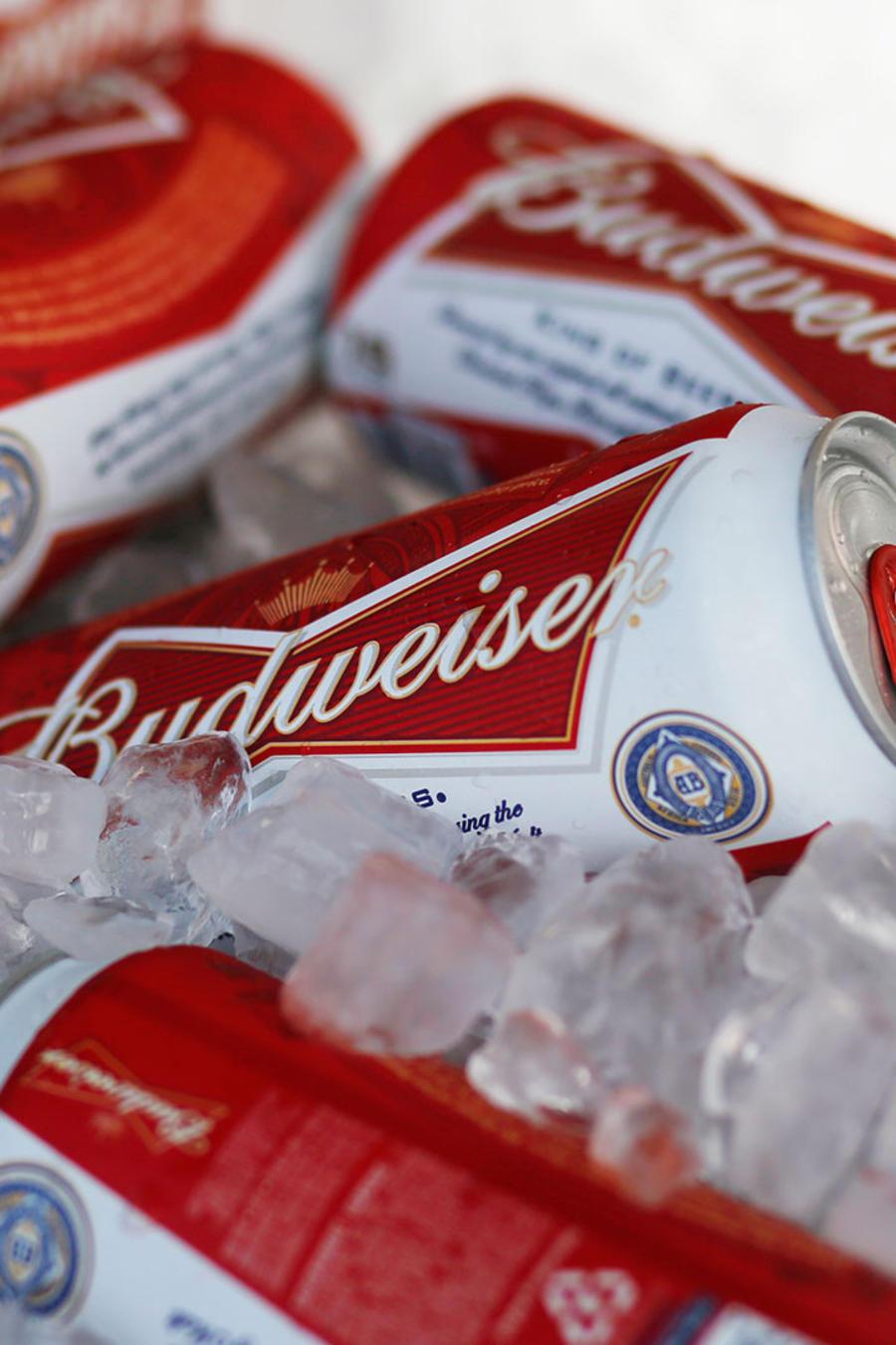 latas de la cerveza budweiser
