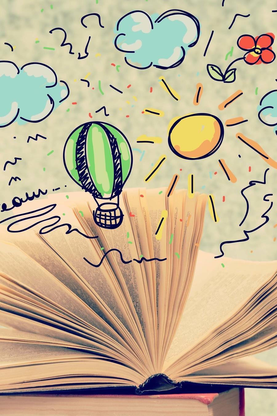 Libro abierto con gráficos que sobresalen