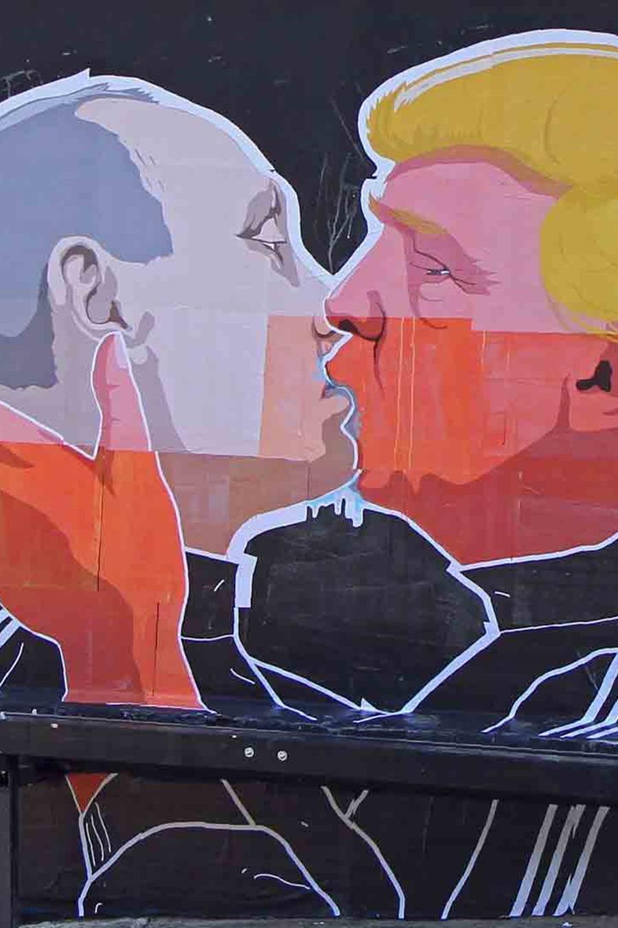 Mural de Trump y Putin