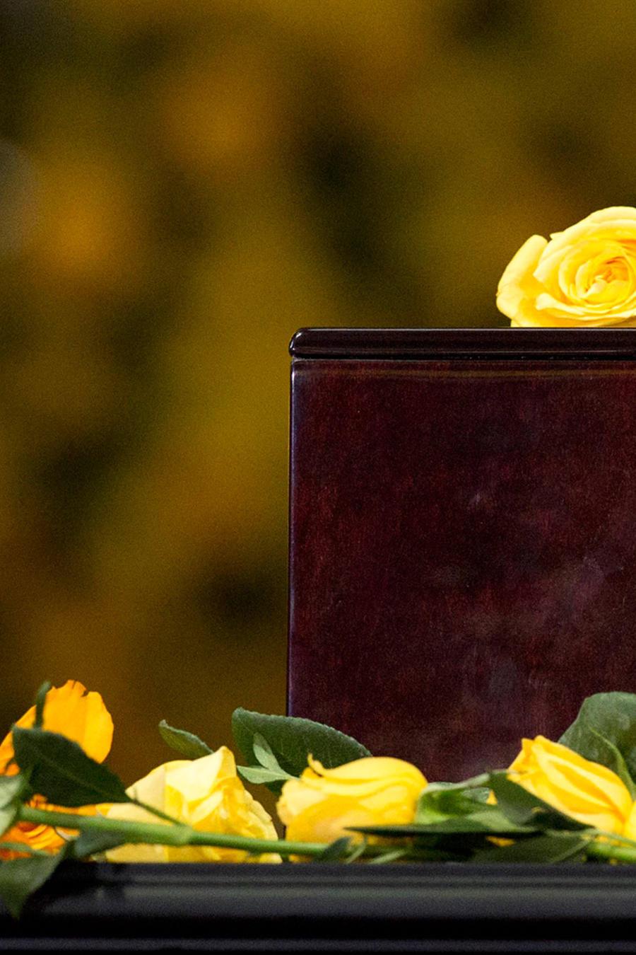 En esta foto del 21 de abril del 2014, rosas amarillas dejadas por dolientes e invitados yacen sobre la urna con las cenizas del escritor colombiano laureado con el Nobel de Literatura, Gabriel García Márquez, durante un homenaje a su memoria en México