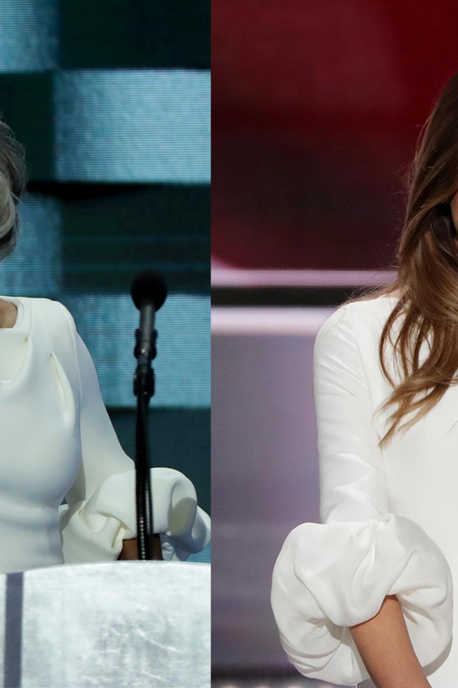 La representante demócrata de Ohio Joyce Beatty y la esposa de Donald Trump con lo que perece ser el mismo vestido