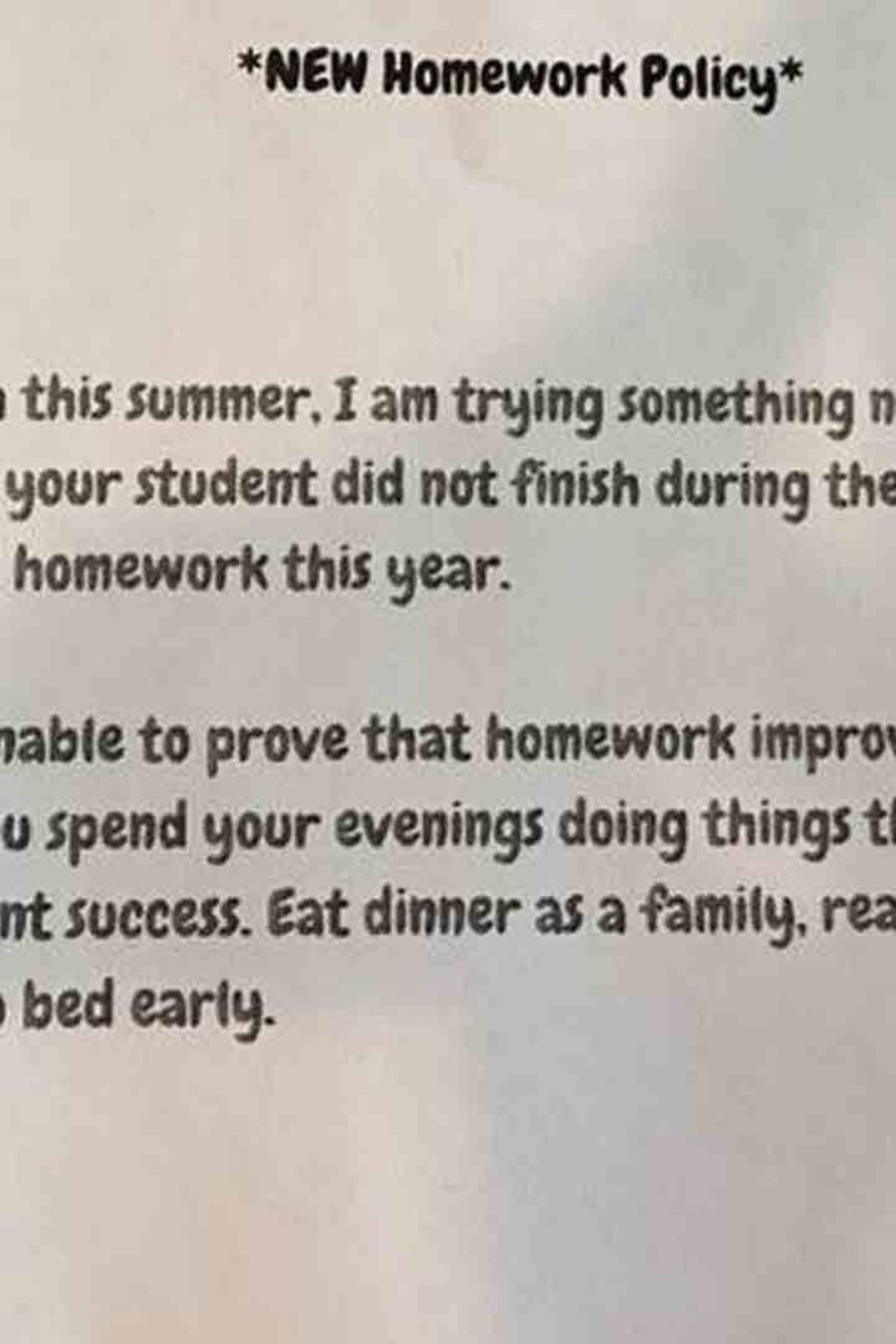 Una maestra de Texas informó que sus alumnos no tendrán tareas en casa