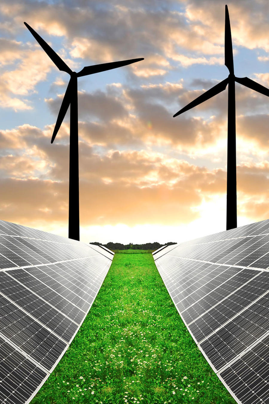 Turbinas eólicas y paneles de celdas solares