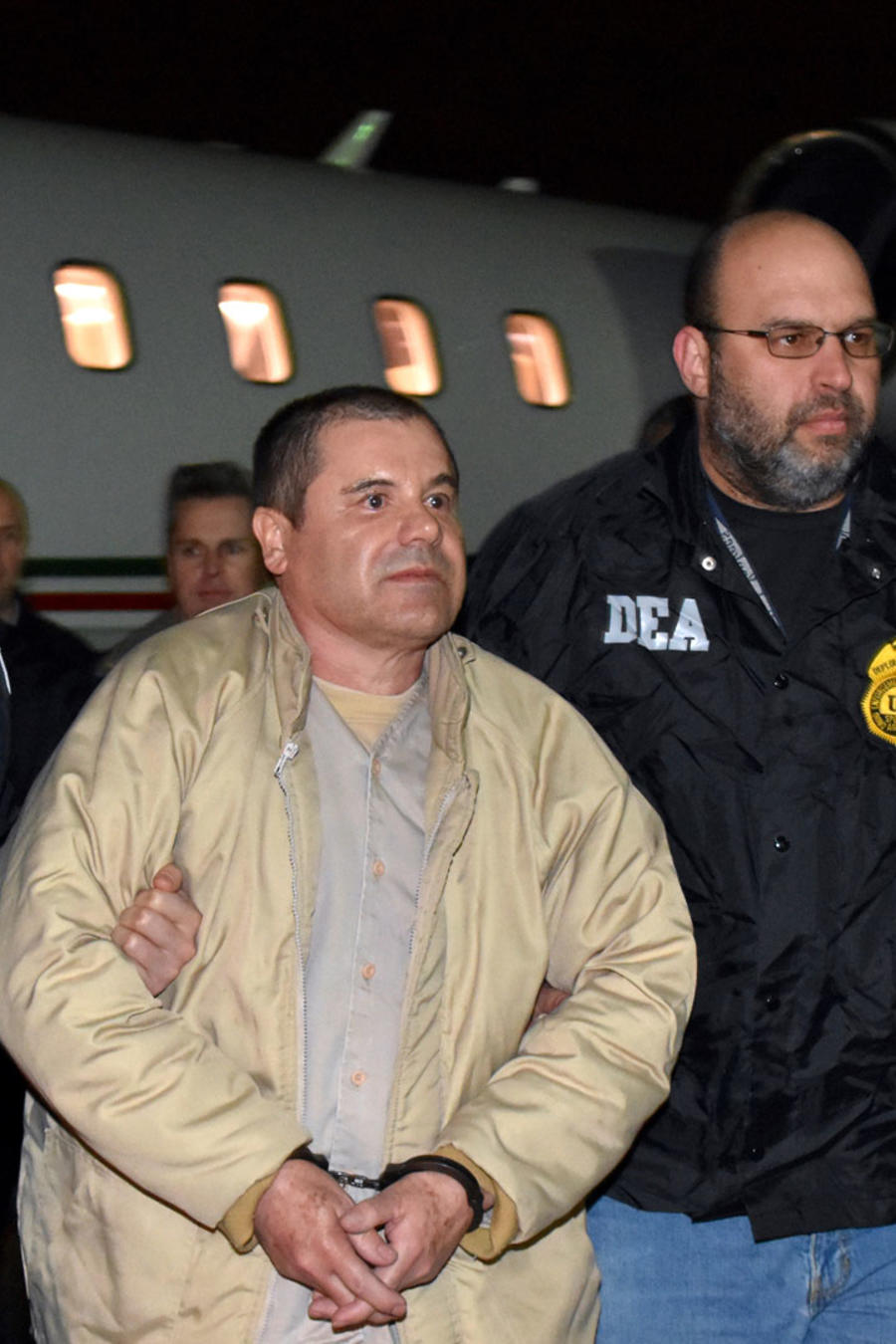 ElChapo Guzman al ser extraditado a EEUU, el 19 de enero de 2017