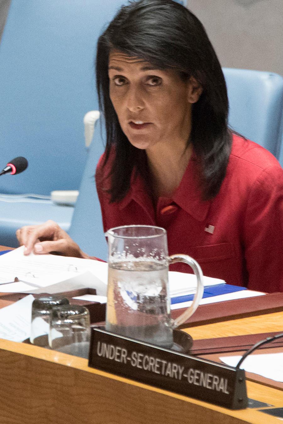 La embajadora de EEUU ante al ONU, Nikki Haley, habla en un discurso ante el Consejo de Seguridad el viernes 7 de abril del 2017