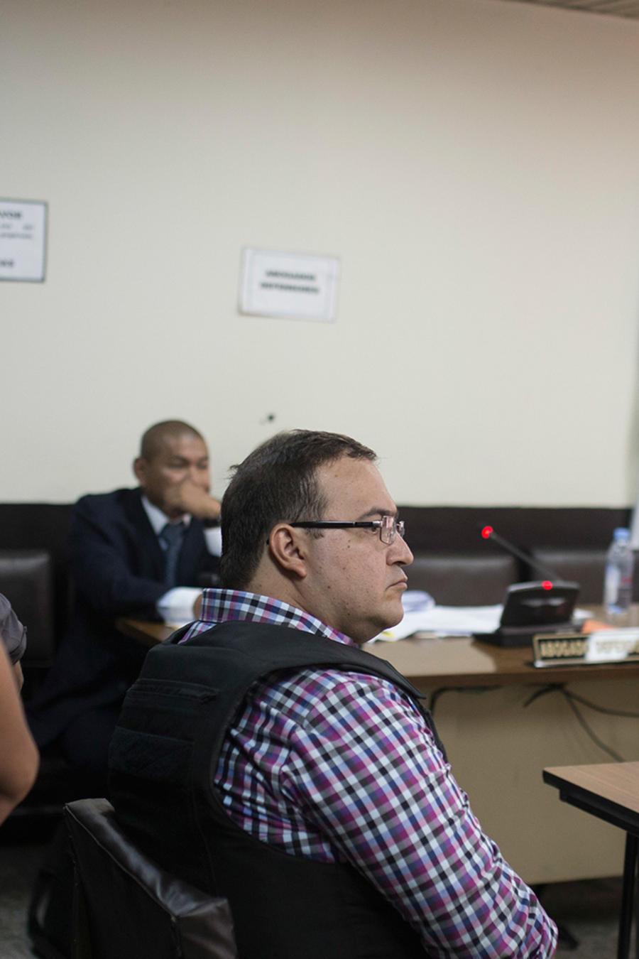 El exgobernador del estado mexicano de Veracruz, Javier Duarte, en audiencia ante el juez que sigue su proceso de extradición a México en la ciudad de Guatemala, el miércoles 19 de abril de 2017.