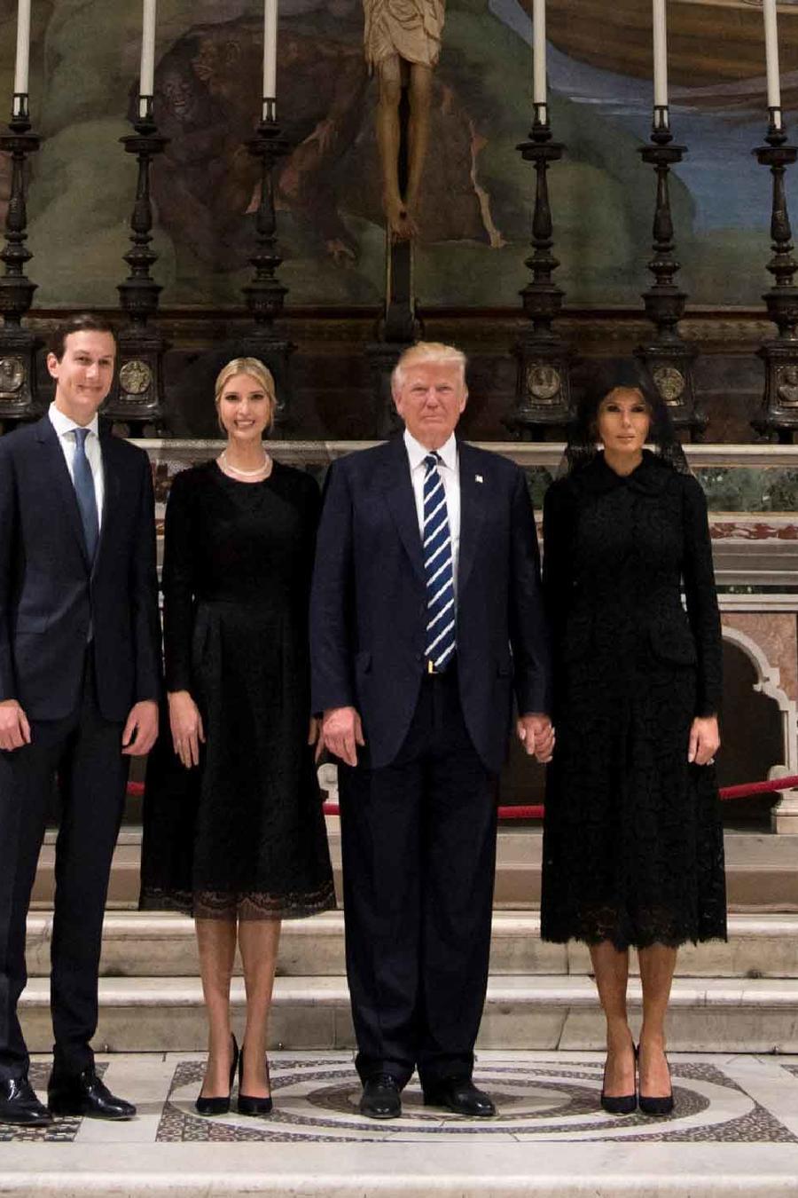 El presidente Donald Trump junto con Melania, Ivanka y Jared Kushner en el Vaticano