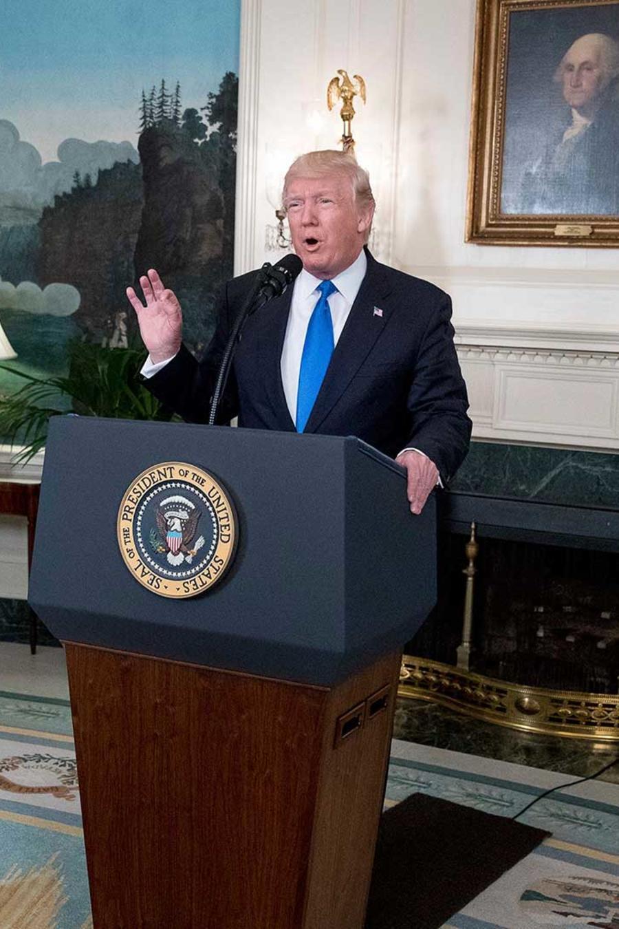 El presidente Trump se dirige a la prensa en la Casa Blanca después del tiroteo en Virginia que dejó cuatro heridos entre ellos un congresista republicano