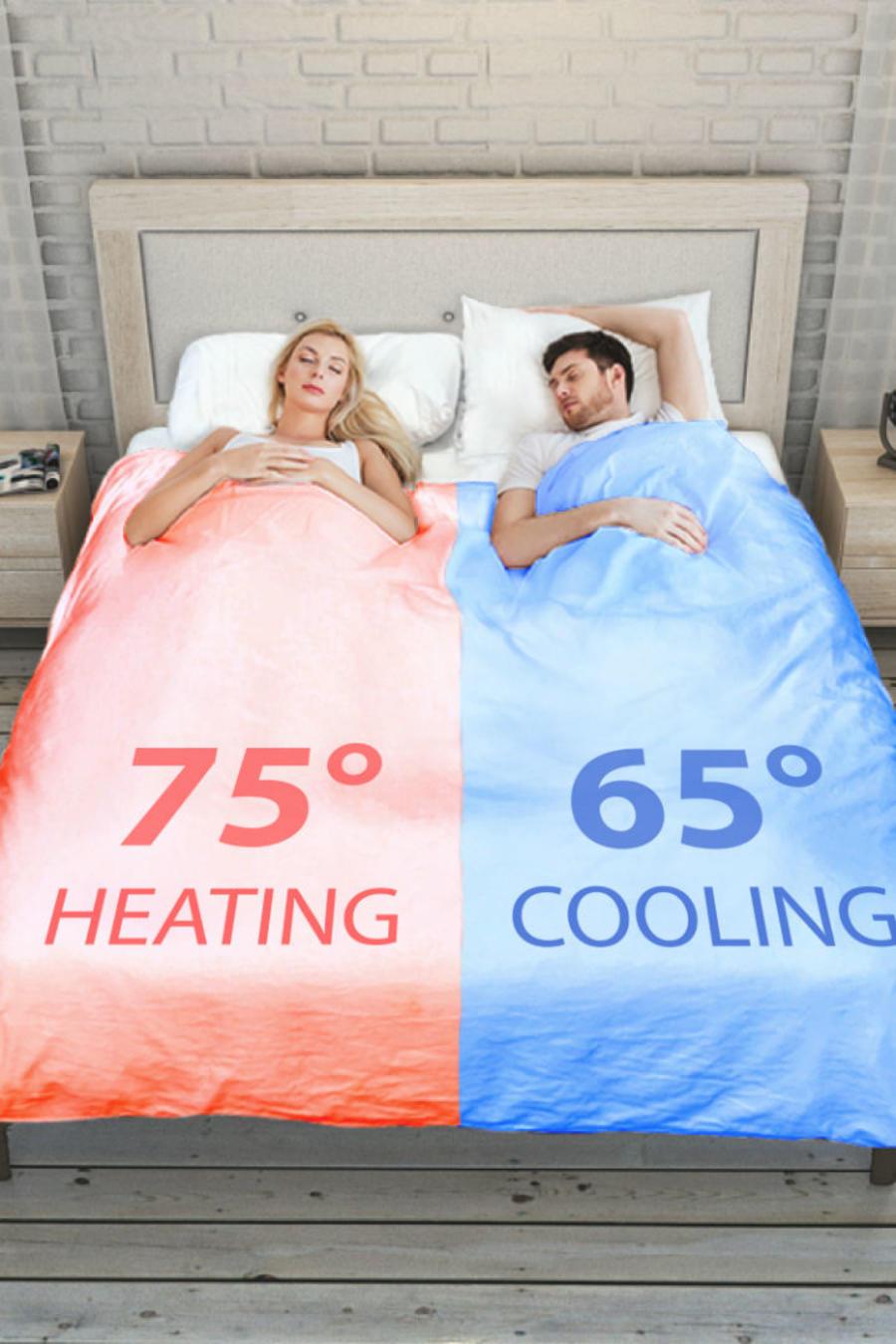 Pareja en la cama usando un smart duver breeze