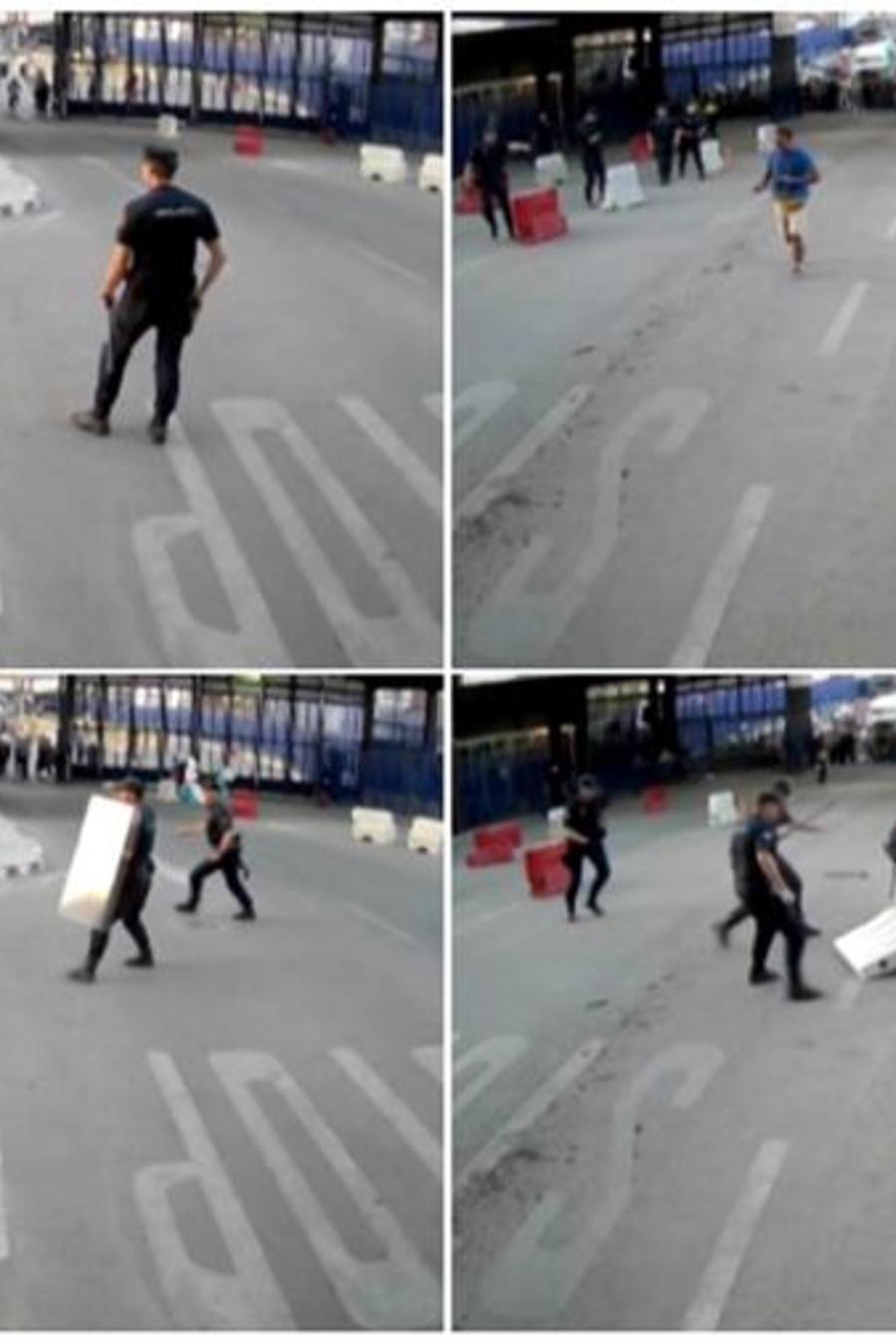Momento en el que un hombre es detenido tras atacar con un cuchillo a un policía en Melilla, España