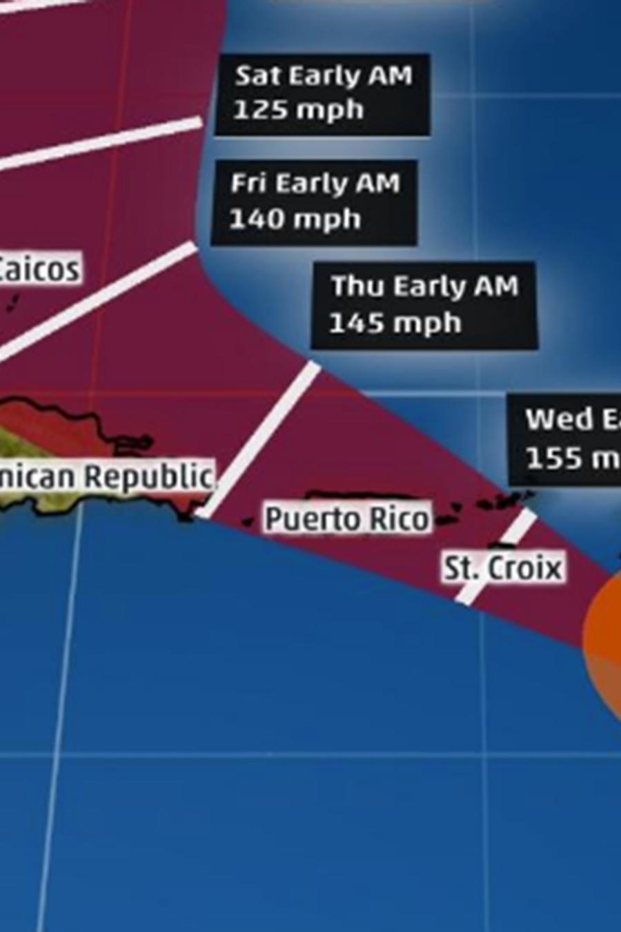 Posible trayectoria del huracán María