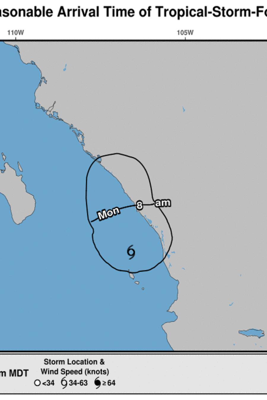 Imagen del Centro Nacional de Huracanes de Estados Unidos sobre el pronóstico de la tormenta tropical Pilar en el Pacífico mexicano.