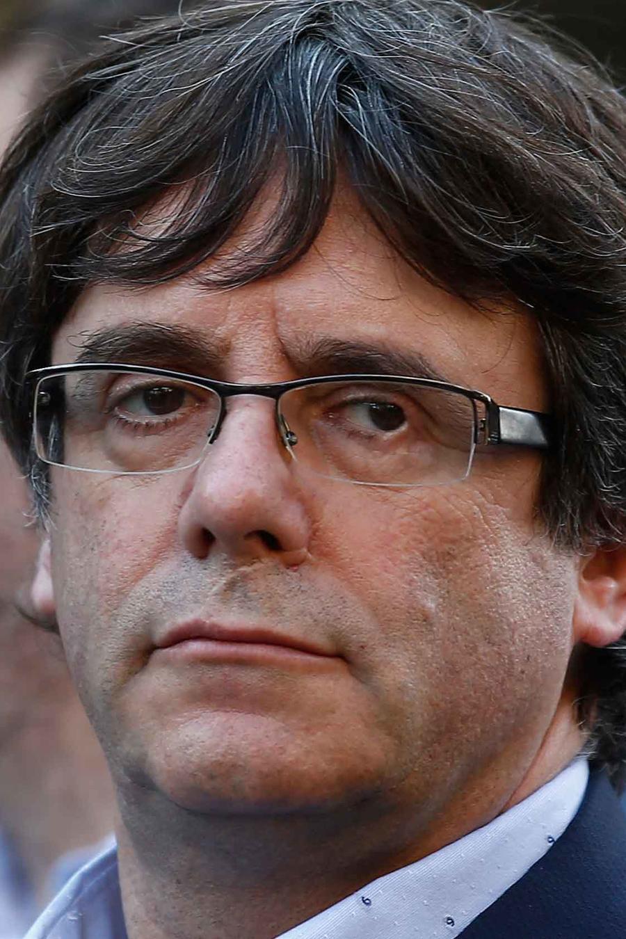 Carles Puigdemont, presidente del gobierno catalán, en la manifestacion a favor de la independencia de Cataluña