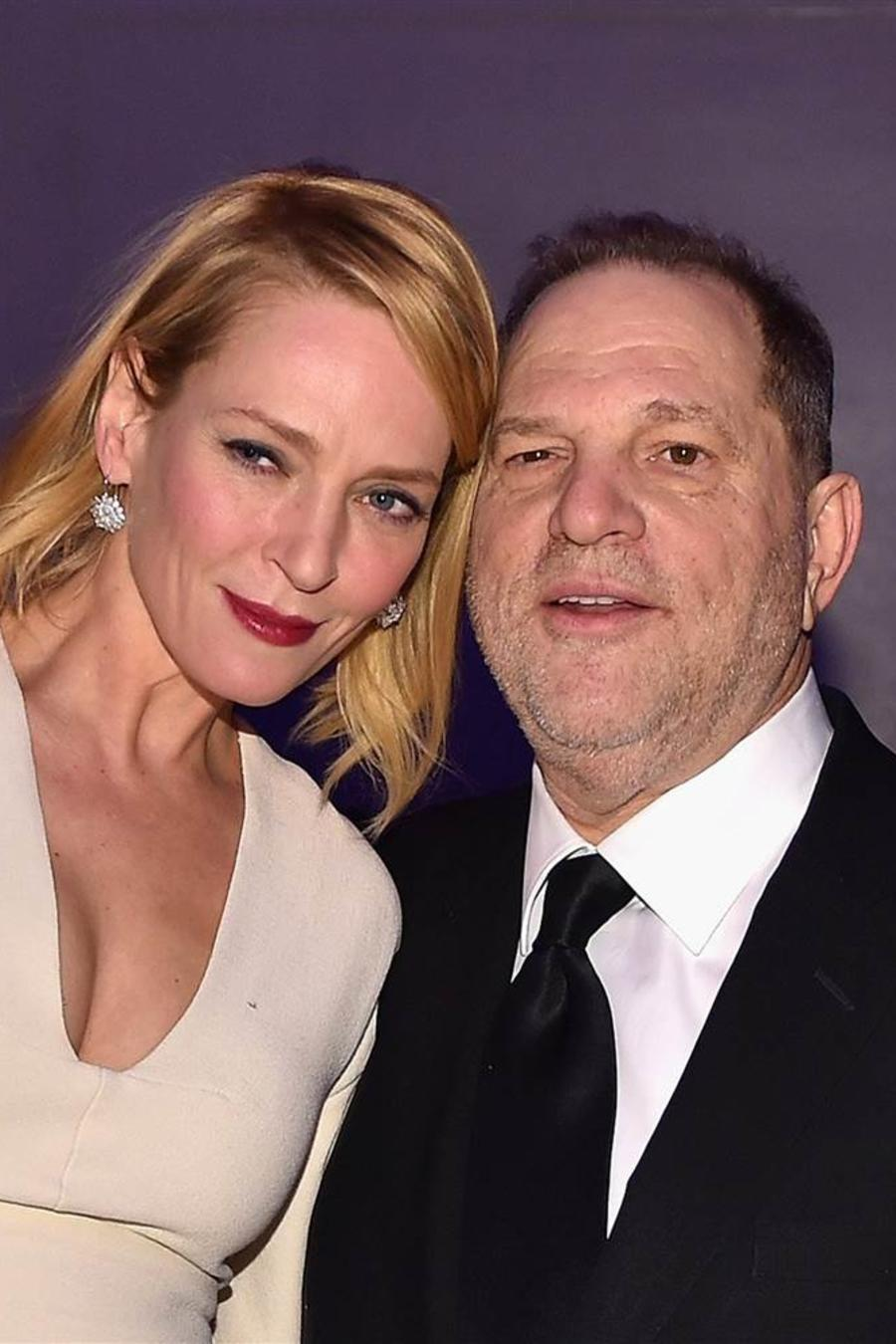 Uma Thurman y Harvey Weinstein en la Gala amFar de Nueva York en 2016