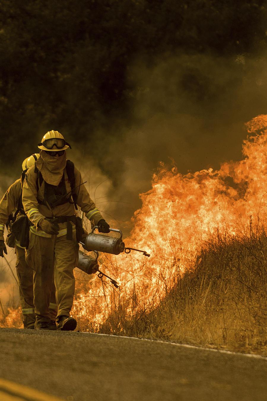 Bomberos tratan de controlar un incendio forestal en un camino de Santa Ana, cerca del condado Ventura, en California.