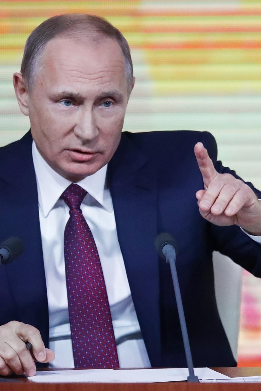 El presidente ruso, Vladimir Putin, durante su conferencia de prensa anual en Moscú, Rusia.