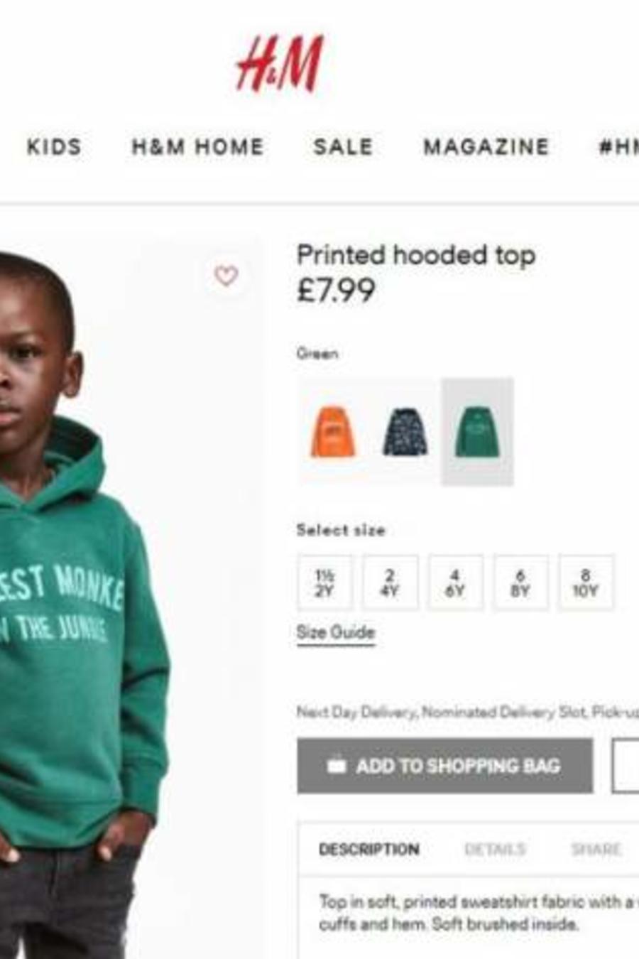 Publicidad en el sitio web de H&M que fue retirada por ser considerada racista.
