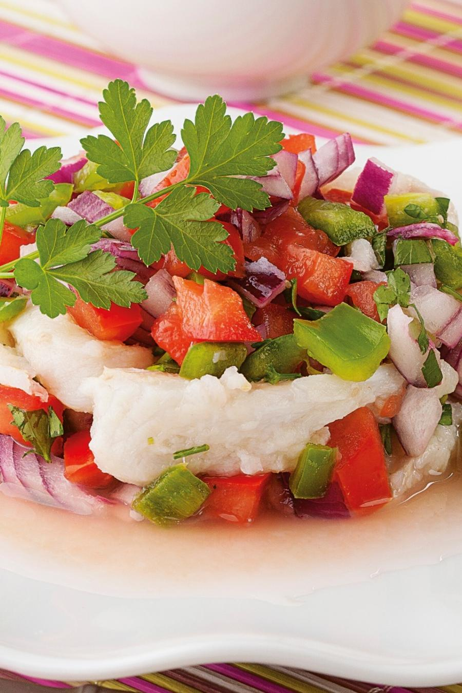 Ceviche on a plate.