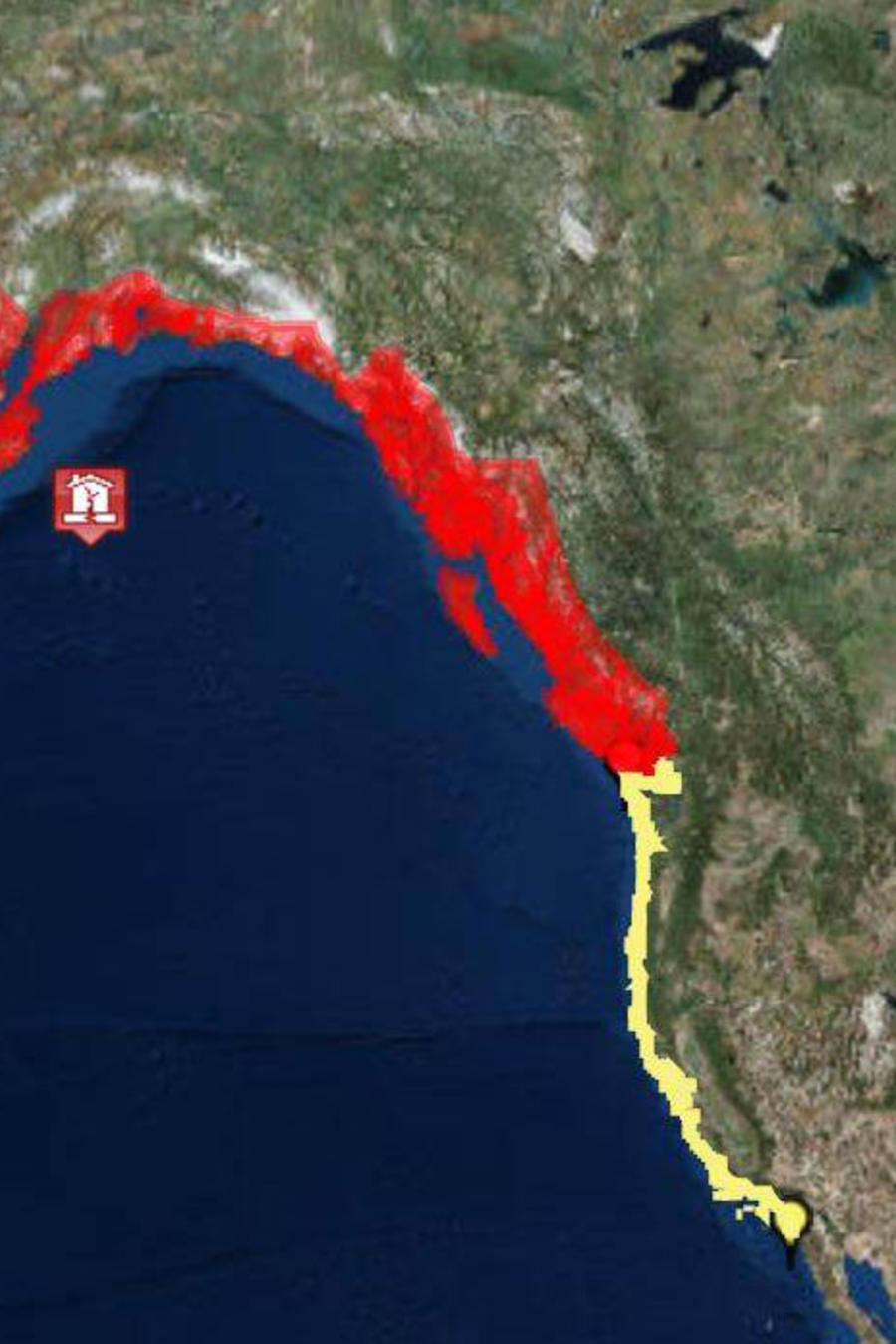 Mapa del NWS muesta el epicentro del terremoto de 7,9 grados en el Golfo de Alaska