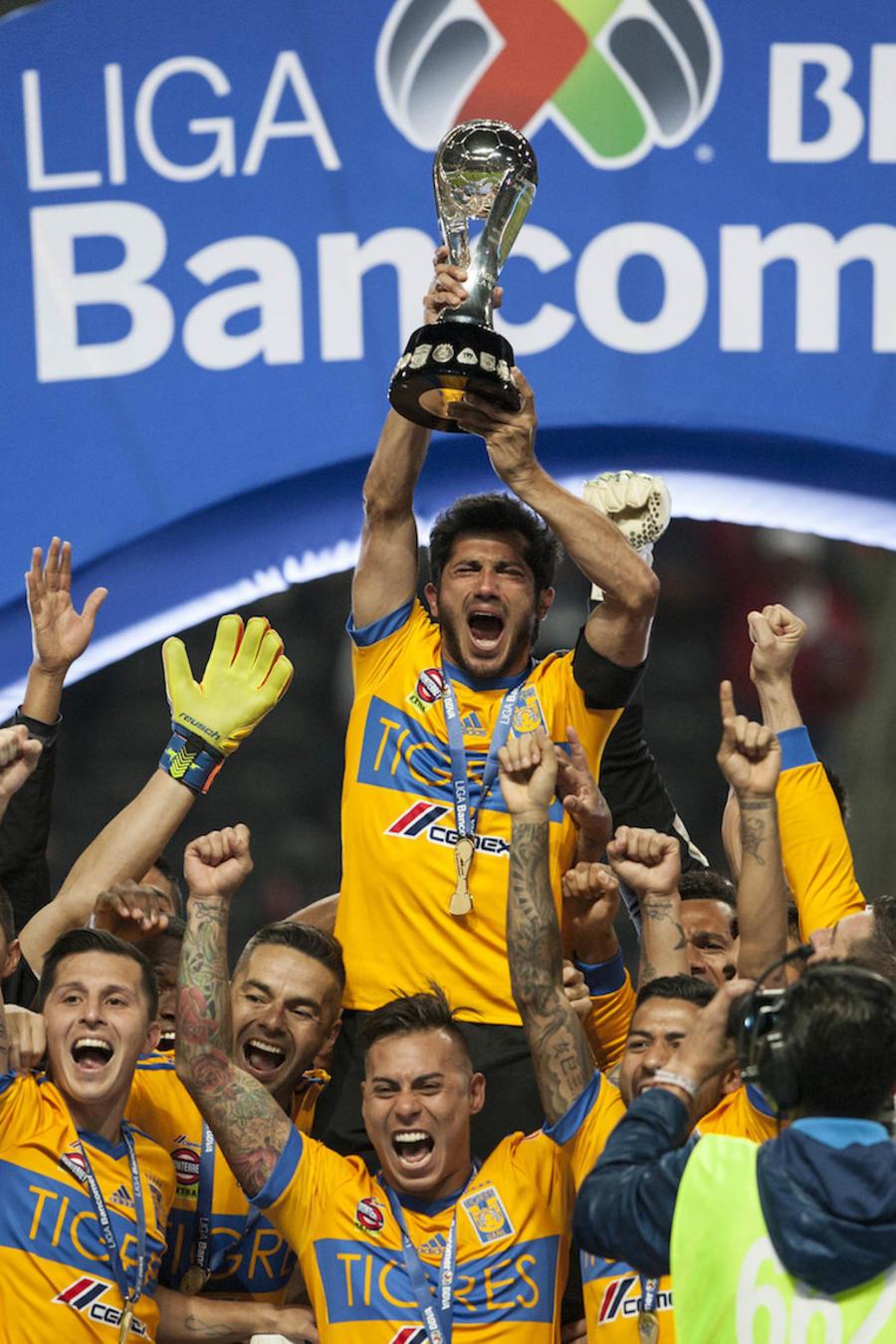 El equipo de Tigres, de la ciudad de Monterrey, nuevo León festeja el campeonato el pasado 10 de diciembre 2017.