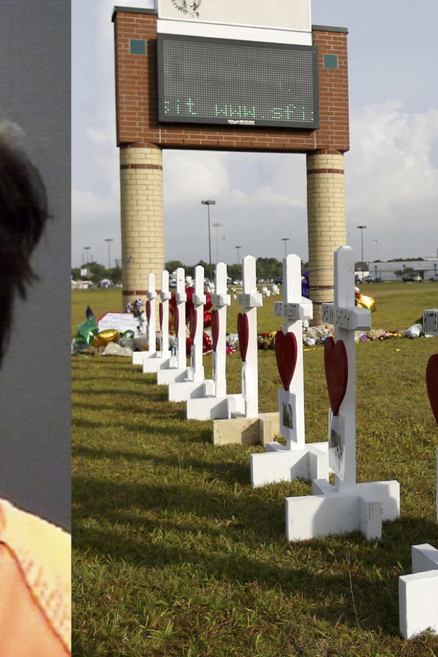 Homenaje a las víctimas en la escuela de Santa Fe, y Dimitrios Pagourtzis.