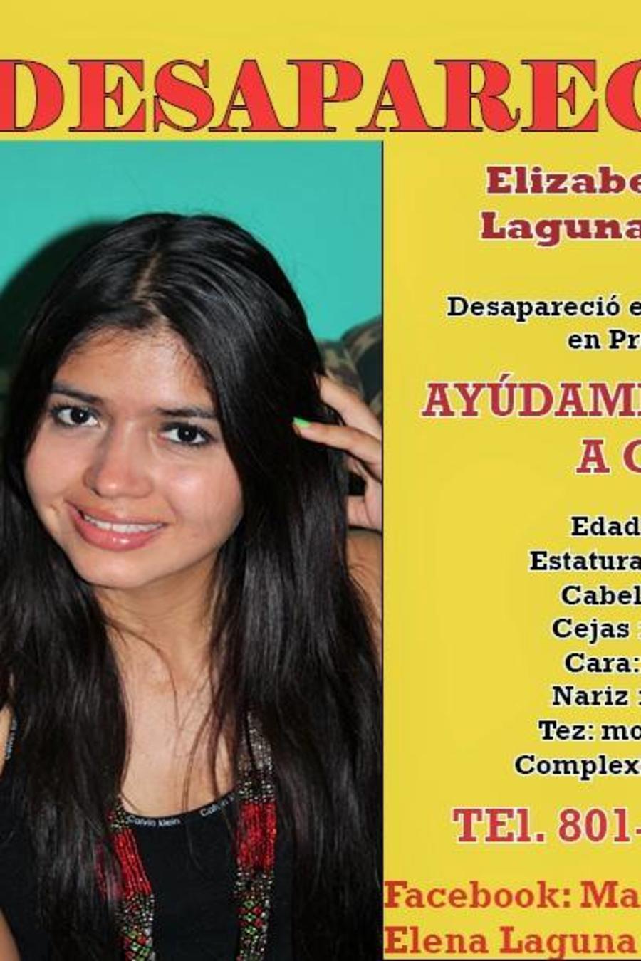 Cartel publicado durante la búsqueda de Elizabeth Elena Laguna Salgado.