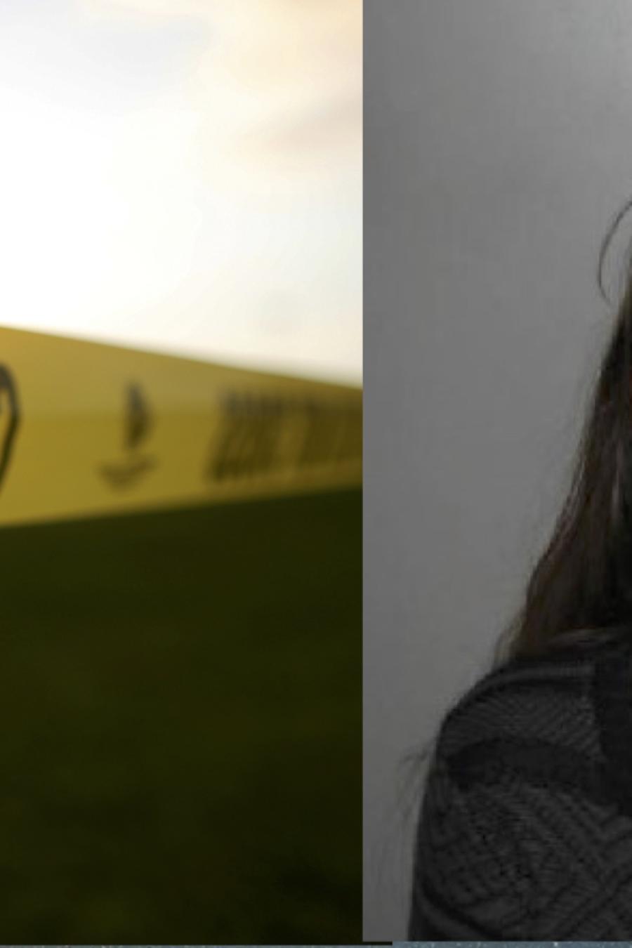 Cordon policial de la escena de un crimen, e imagen de Iris Hernández Rivas