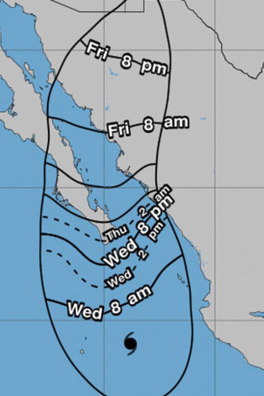 Mapa del recorrido de la tormenta Bud en el Pacífico mexicano