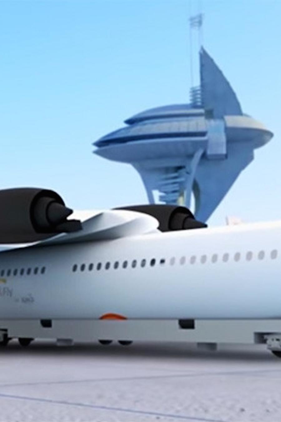 Tren con alas en aeropuerto
