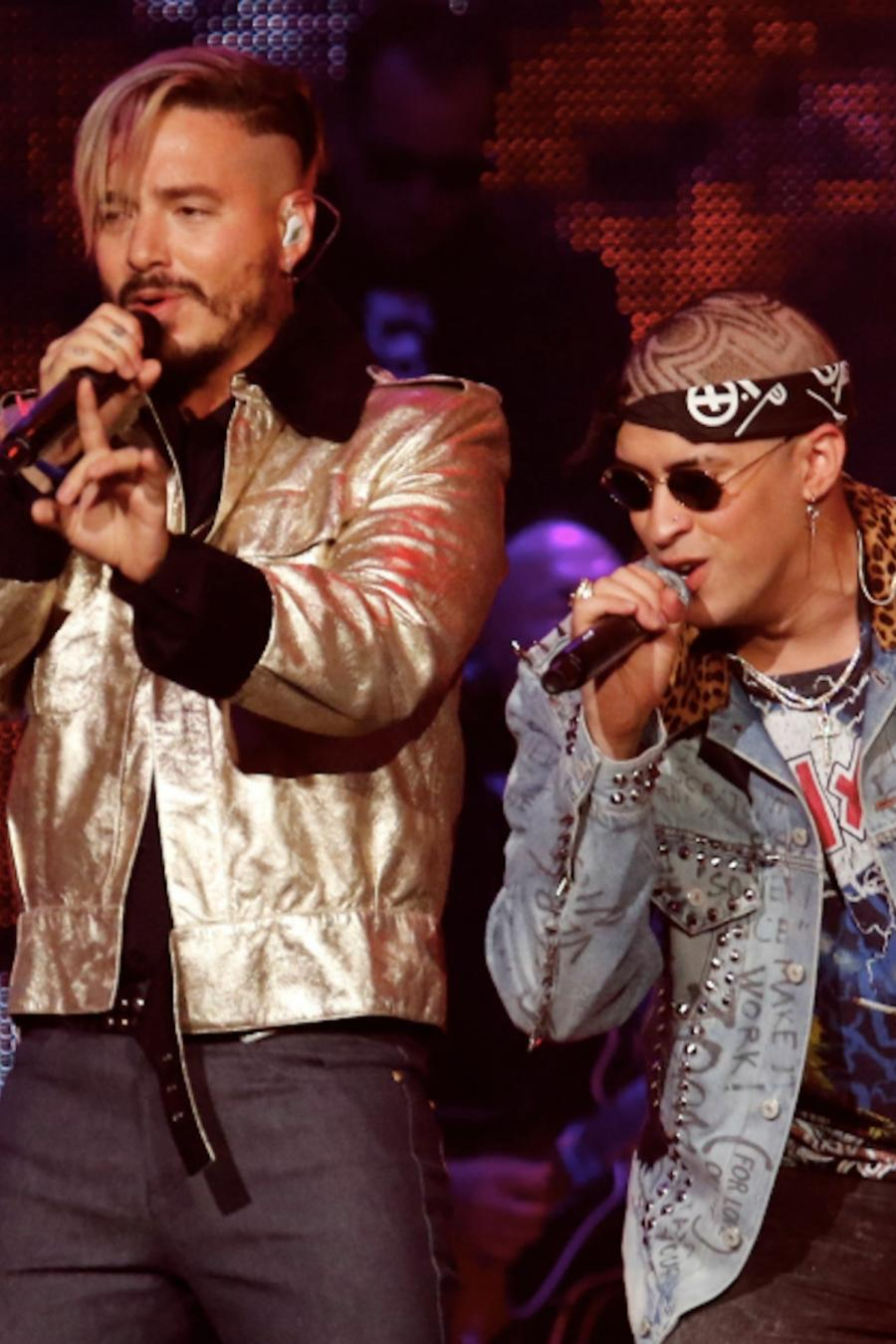 J Balvin and Bad Bunny in concert