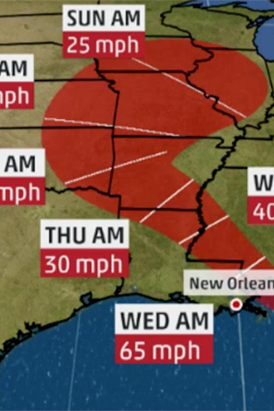 Pronóstico del recorrido de la tormenta tropical Gordon