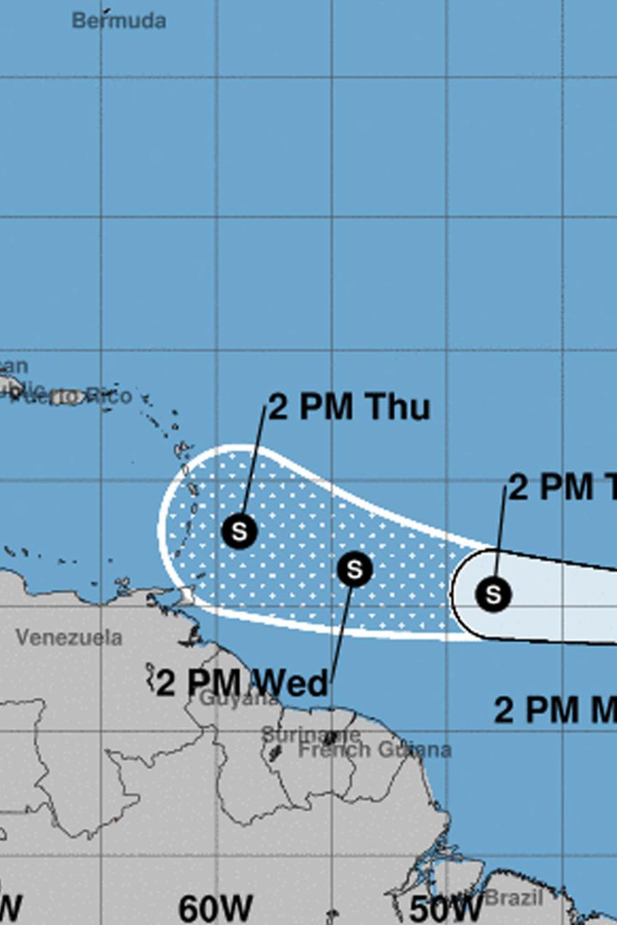 Mapa de la tormenta tropical Kirk sobre el Atlántico