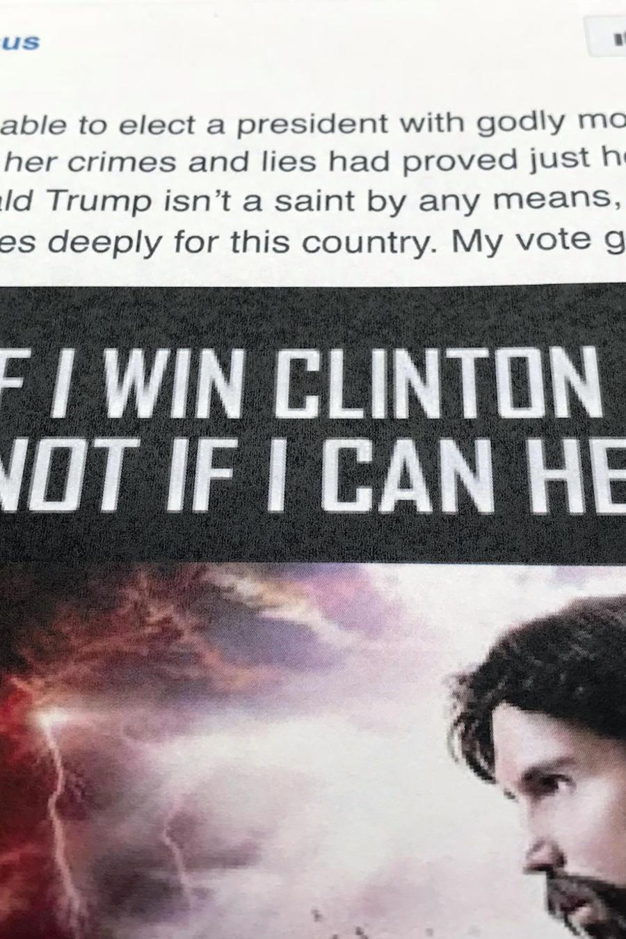 Anuncio en Facebook denunciado como parte de la campaña rusa para influir en las elecciones de 2016.