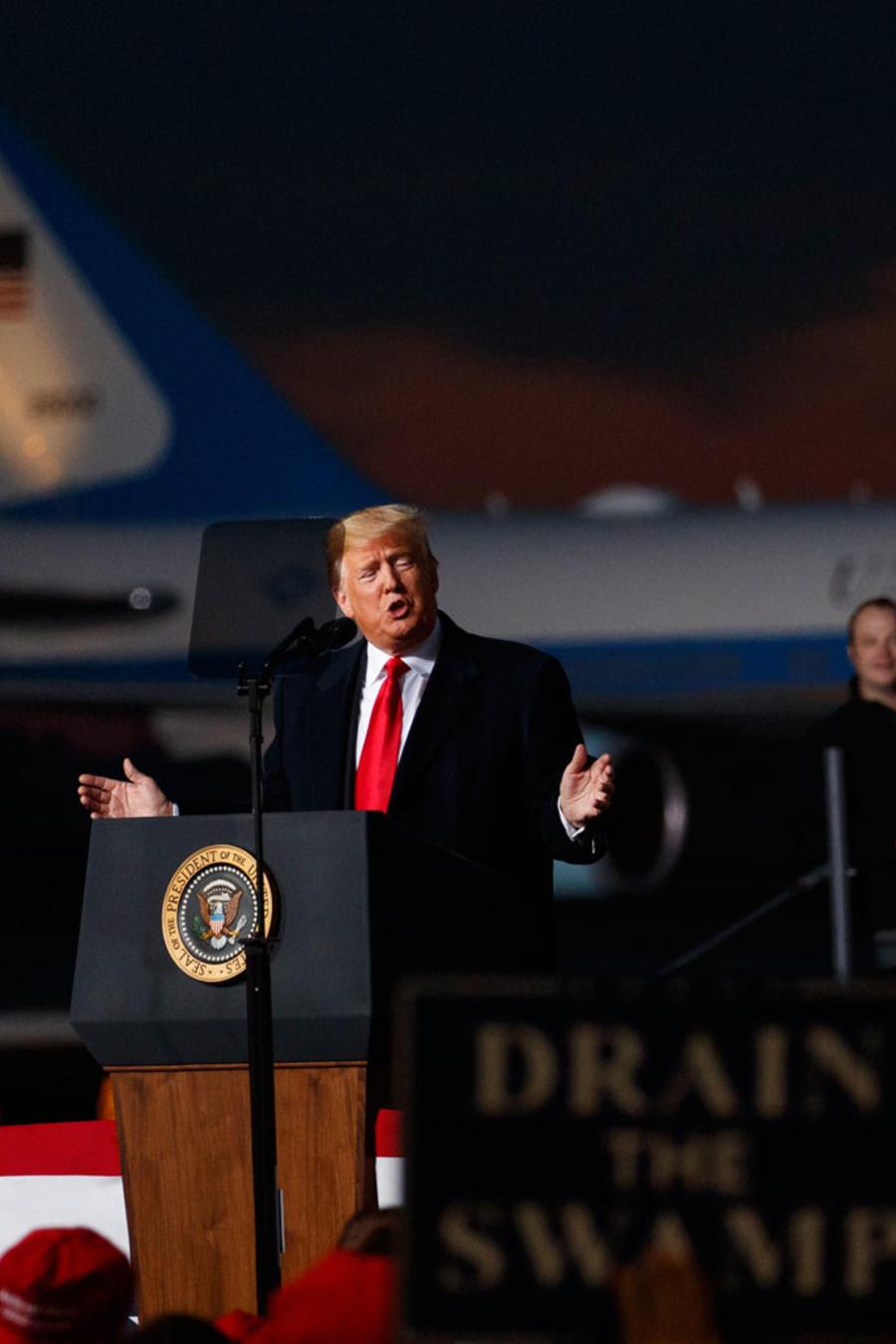 Trump durante un mitin en Montana el 18 de octubre de 2018