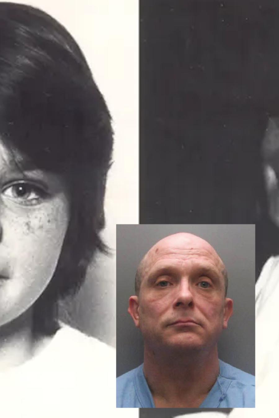 Karen Hadaway (izquierda) y Nicola Fellows, junto a la imagen de su asesino.