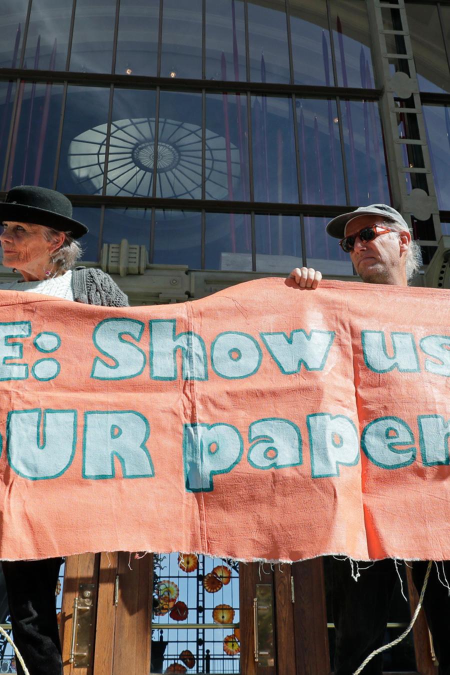 Una protesta contra las políticas de ICE en una imagen de archivo