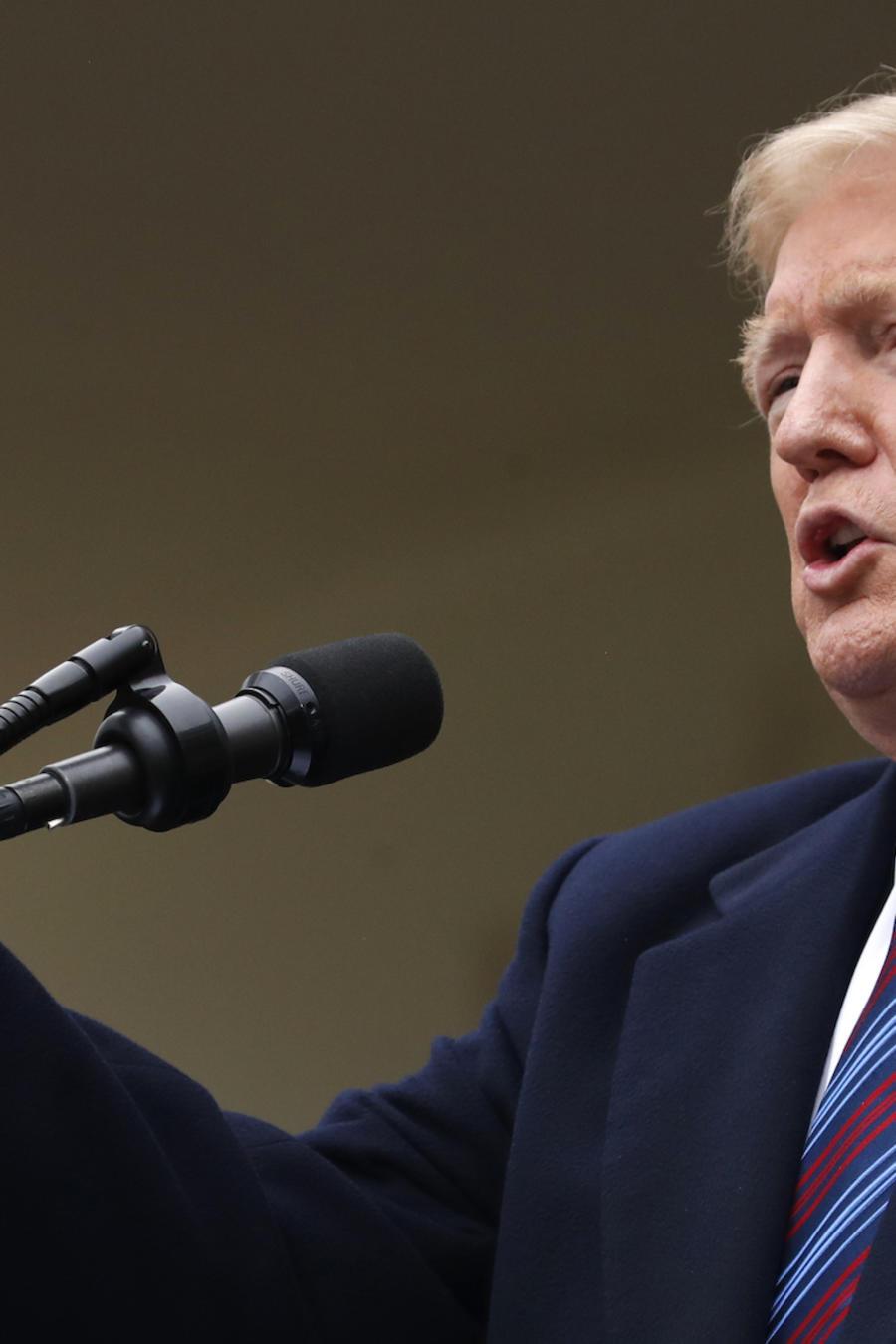 Trump, durante su conferencia de prensa este viernes en la Casa Blanca.