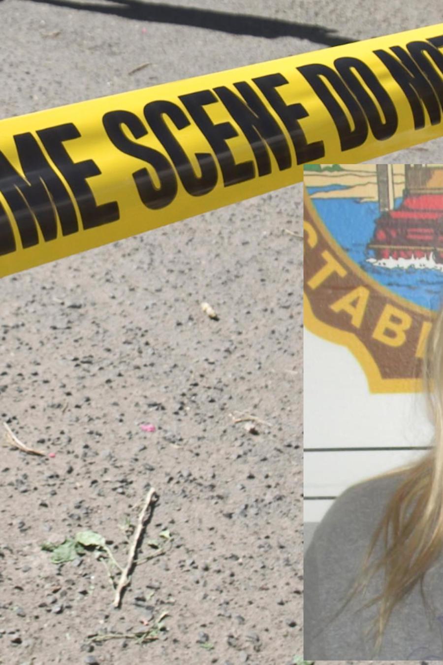 Imagen de archivo de un cordón policial. A la derecha, Amy Murray.