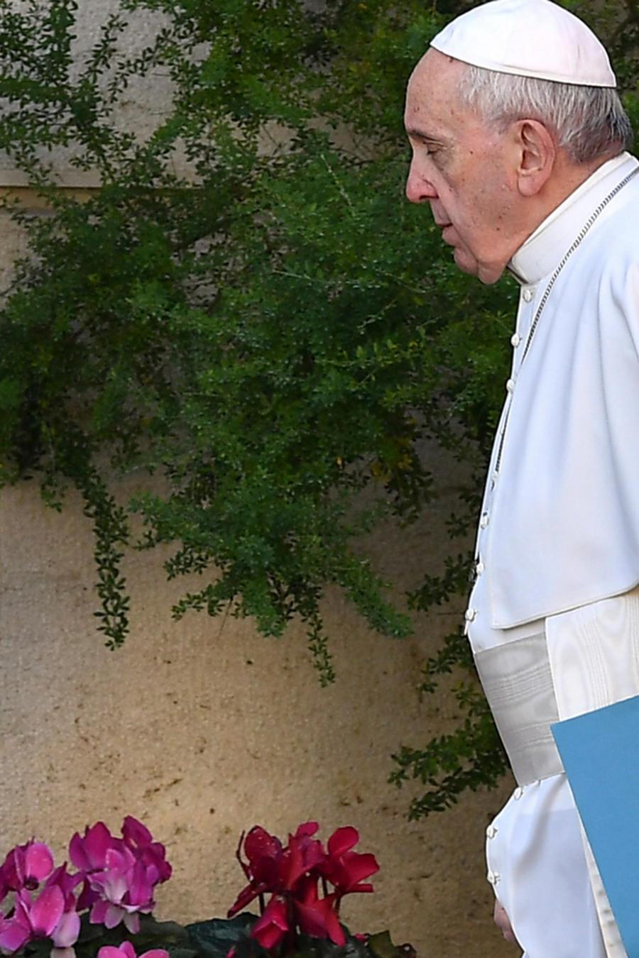El papa en el Vaticano entrando a la conferencia de obispos sobre pederastia hoy