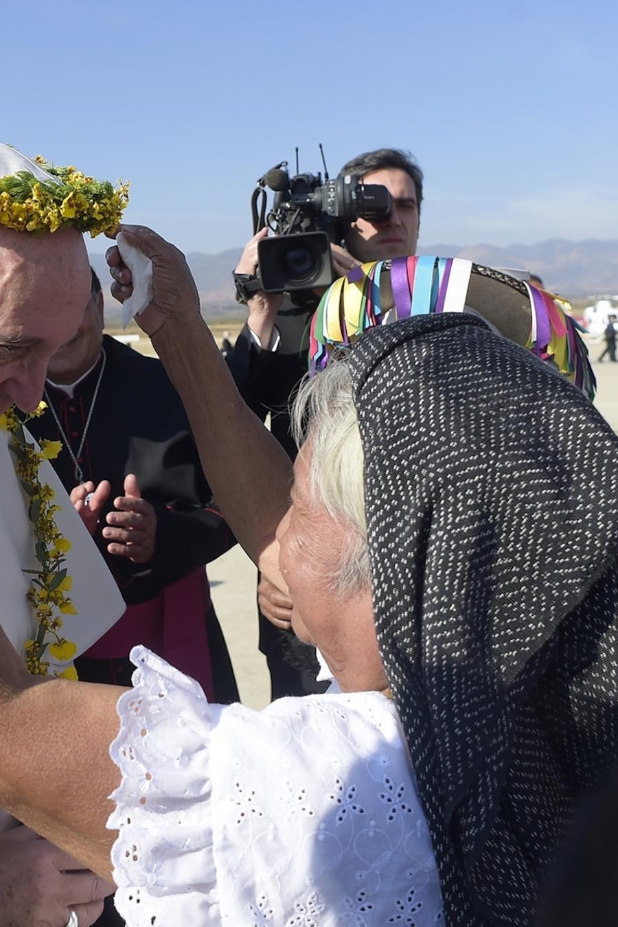Bienvenida al papa Francisco en San Cristobal de las Casas (México) el 15 de febrero de 2016.