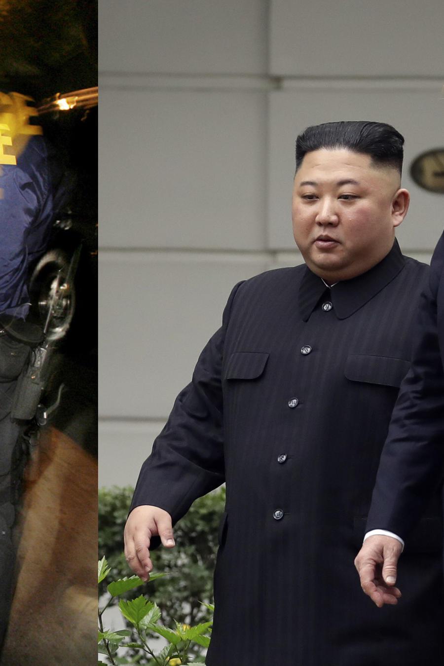 Imagen de archivo de una operación de ICE (izquierda), y de la reunión entre Trump y Kim Jong Un en febrero en Vietnam.