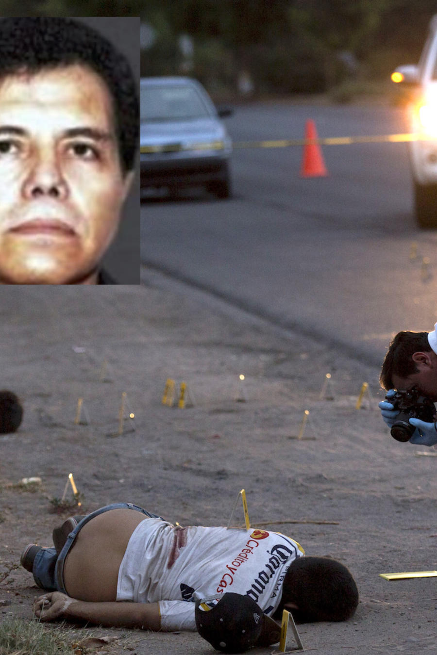 Imagen de archivo de una investigación policial en el estado de Sinaloa en 2017. A la izquierda, El Chapo y El Mayo.