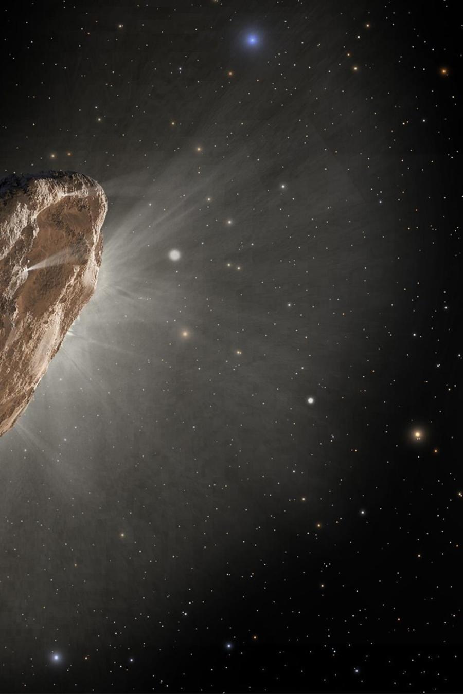 La ilustración de este artista muestra 'Oumuamua a las afueras de nuestro sistema solar. NASA / ESA / STScI