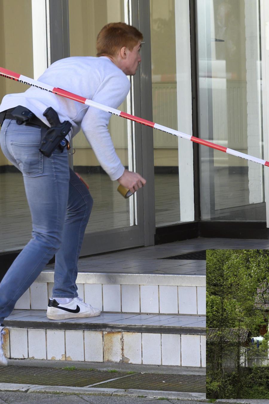 Un investigador entra este lunes en el edificio en el que fueron halladas las dos mujeres muertas en Wittlingen (Alemania).